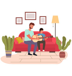 musician teaches child to make songs guitar and vector image