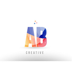Orange blue alphabet letter ab a b logo icon vector