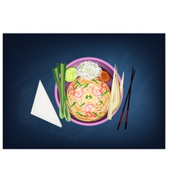 Pad Thai or Stir Fried Noodles with Prawns vector image
