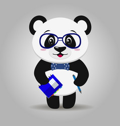 panda with glasses with a notepad and pen in the vector image