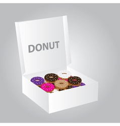 paper box full of colorful donuts eps10 vector image