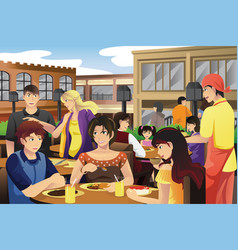 People eating in an outdoor restaurant vector