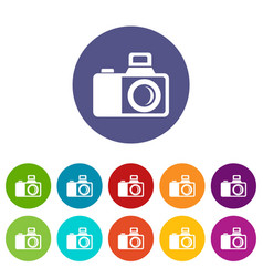 Photocamera icons set color vector