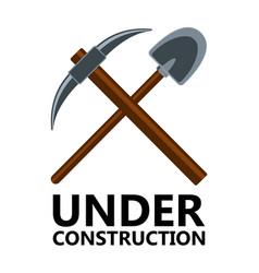 pickaxe and shovel icon under construction vector image