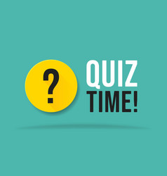 quiz time color speech bubble on blue background vector image