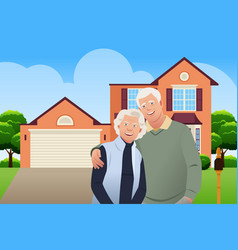 Retired senior couple in front their house vector