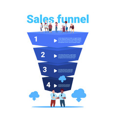 Sales funnel with mix race old people full length vector