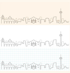 san antonio hand drawn skyline vector image
