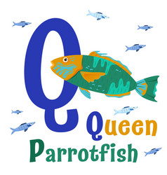 Sea animals alphabet abc for children letter q vector