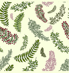seamless pattern with leaves and branches floral vector image