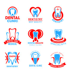 set of dental clinic icons vector image
