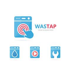 Set of laundry logo combination washing machine vector