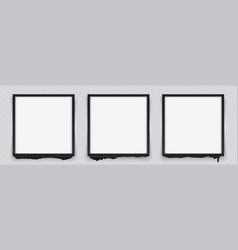 set of square black frames on a transparent vector image