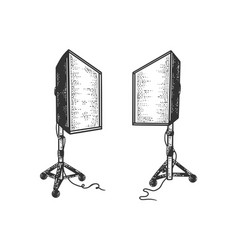 softbox photographic lighting device sketch vector image