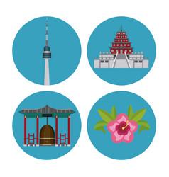 South korea round icons vector