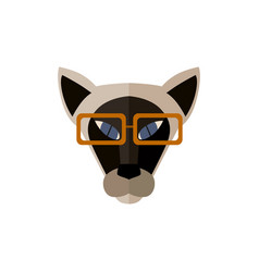 Sphinx cat head with glasses icon vector