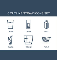 Straw icons vector