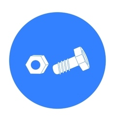 Structural bolt and hex nut icon in black style vector