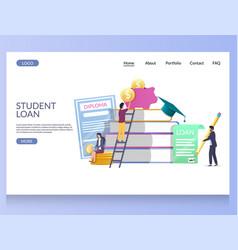 Student loan website landing page design vector