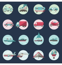 Transport icons round set vector