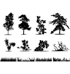 trees bushes and grass silhouettes vector image