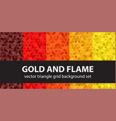 triangle pattern set gold and flame seamless vector image