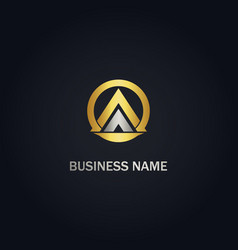Triangle pyramid round business gold logo vector