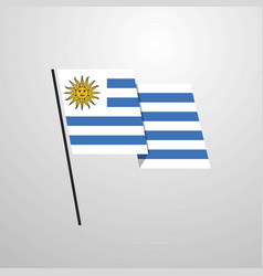Uruguay waving flag design background vector