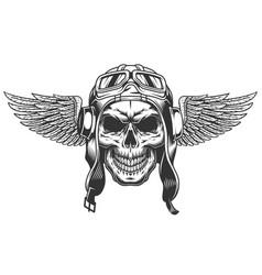 vintage monochrome winged pilot skull vector image