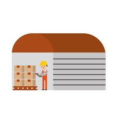 warehouse worker of the display rack with vector image