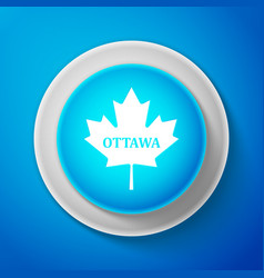 White canadian maple leaf with city name ottawa vector
