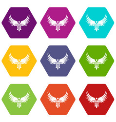 winner wing icons set 9 vector image