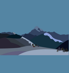 winter landscape of mountains vector image