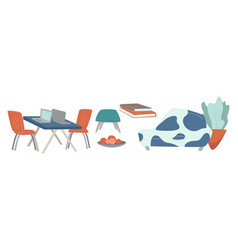 working space and living room interior design vector image