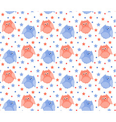 Cute red and blue owls with stars in the vector