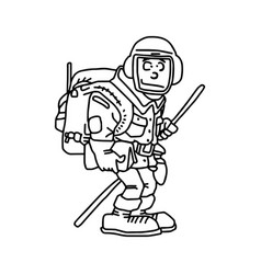 hiker with backpack black lines vector image