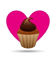 heart cartoon sweet cup cake cream chocolate icon vector image