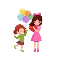 kids playing greeting card vector image