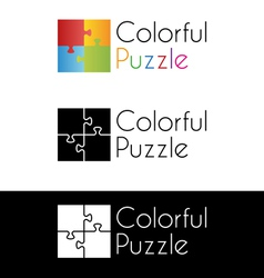 Colorful puzzle logo vector image
