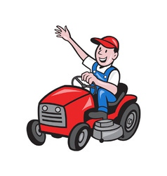 Farmer Driving Ride On Mower Tractor vector image vector image