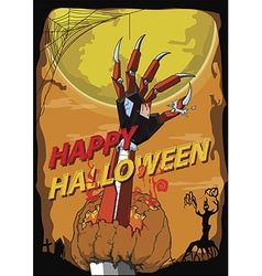 Halloween hand robot kill pumpkin vector image vector image