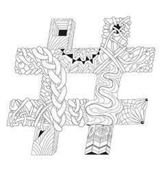 hand drawn zentangle hashtag for coloring page vector image