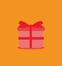 Red flat present box gift concept vector image