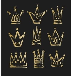 set of 9 black and gold sketch drawing princess vector image