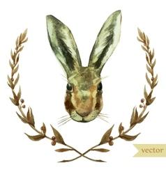 wreath rabbit watercolor hare vector image