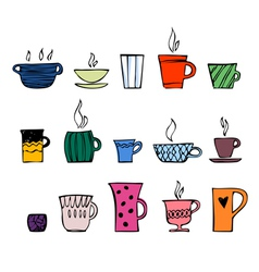 color cups of tea or coffee vector image vector image