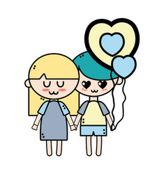 couple children with hairstyle and pijama clothes vector image
