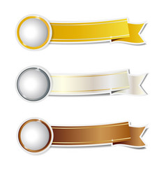 golden silver and bronze ribbons banner vector image vector image