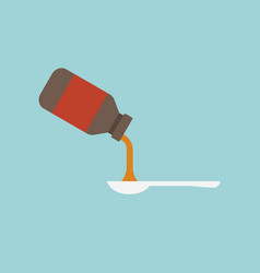 pouring medicine from bottle to spoon vector image