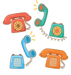 retro telephone cartoon vector image vector image